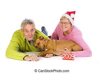 Elderly couple for christmas