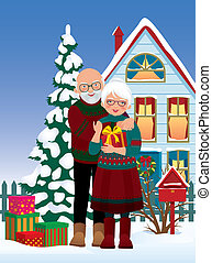Elderly couple getting gifts at Chr