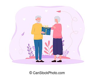 Elderly couple giving each other gifts