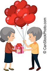 Elderly couple giving gifts  illustration
