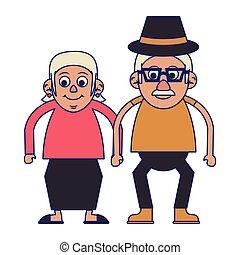 Elderly couple grandparents blue lines