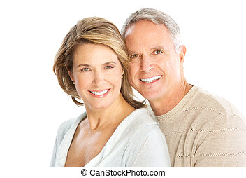 Elderly couple - Happy elderly couple in love. Isolated over...