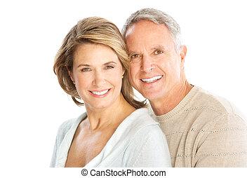 Elderly couple - Happy elderly couple in love. Isolated over...