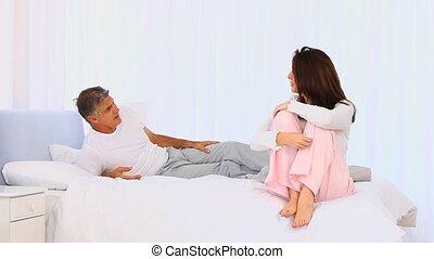 Elderly couple having an argument