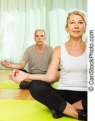 Elderly couple having yoga at home