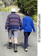 Elderly couple holds hand while walking