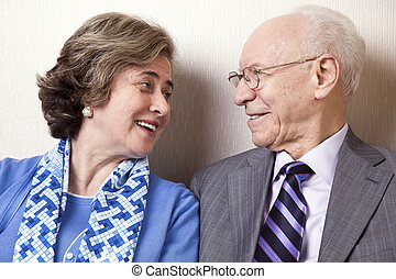 Elderly Couple in Love - Close Up - A high society senior...
