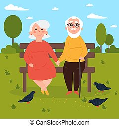 Elderly couple in love on bench outdoors. Pigeons