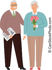 Elderly couple in love, senior people together, vector...