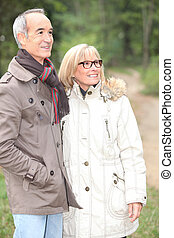 Elderly couple in park
