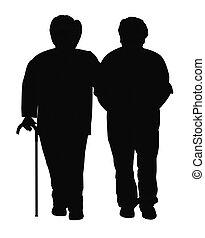 elderly couple in silhouette - elderly couple template over...