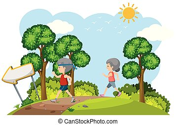 Elderly Couple Jogging in Nature