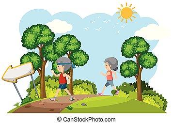 Elderly Couple Jogging in Nature