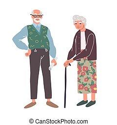 Elderly couple. Joyful nice elderly couple smiling