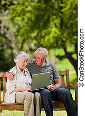 Elderly couple looking at their laptop