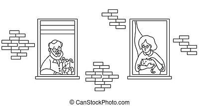 elderly couple looking for a house. windows with people neighbors. Elderly man with a dog and grandmother with a cat at the window. The concept of social isolation during the coronavirus pandemic. Stay home. Line drawing
