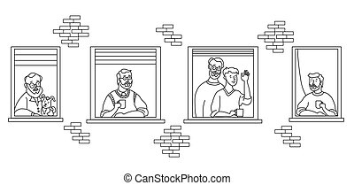 elderly couple looking for a house. windows with people neighbors. The men are old and young. Family - he and he, with a dog, with a cup, with a beard, waved his hand. Self-isolation, quarantine. Outline drawing