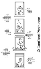elderly couple looking for a house. windows with people neighbors. The women of the neighbor are old and young. One with a cat, with a cup, with a dog and watering flowers. Self-isolation, quarantine. Outline drawing