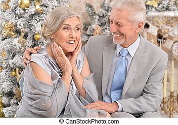 elderly couple  near christmas tree