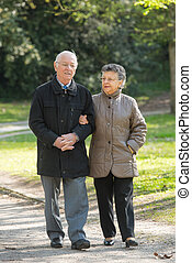 elderly couple on a stroll