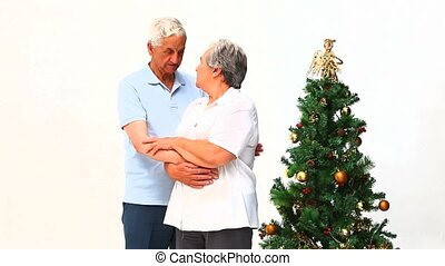 Elderly couple on Christmas day