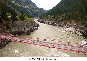 Elderly couple on the bridge over Hell's Gate in the Canadian Rockies