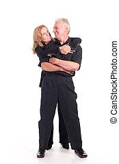 elderly couple on white