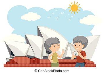 Elderly couple outside Sydney opera house