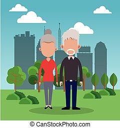 elderly couple park city background