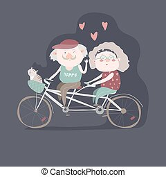 Elderly couple riding a bicycle tandem. Vector illustration