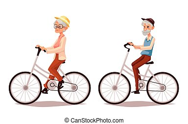 Mature couple riding bikes, vector cartoon illustration of two old people zhenschitsy men ride bicycles, old men and women involved in sports, old and the old ride bikes, isolated couple old people