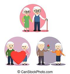 elderly couple set illustration design