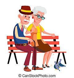 Elderly Couple Sitting On Bench In Summer, Autumn Park Vector. Isolated Illustration