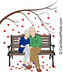 Elderly Couple Sitting on Bench - A vector illustration of...