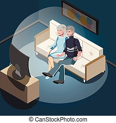 Elderly couple sitting on the sofa and watching TV.