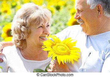 Elderly couple - Smiling happy elderly couple in love...