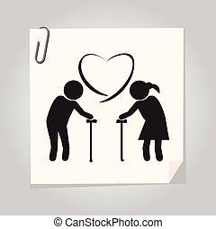 Elderly couple symbol. old people couple illustration