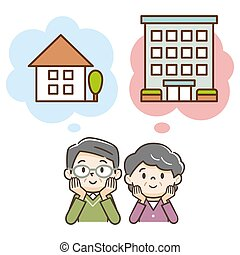 Elderly couple thinking about buying a detached house or apartment