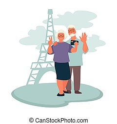 Elderly couple traveling to Paris, grandparents taking selfie with Eiffel tower