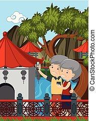 Elderly Couple Visit China illustration