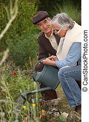 Elderly couple watering flowers