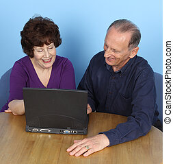 Elderly couple with computer