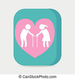 Elderly couple with love symbol. old people couple with heart icon