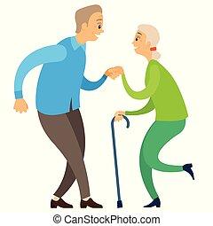 Elderly Dancers, Pensioners Moving, Dance Vector