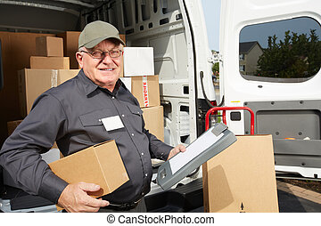 Elderly delivery man with parcel.