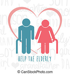elderly design over white background vector illustration