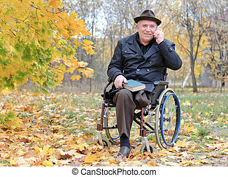 Elderly disabled man in a wheelchair in a park