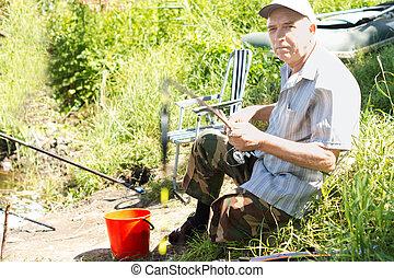 Elderly disabled man sitting fishing at a lake