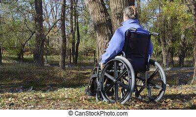 Elderly disabled woman