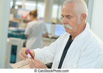 elderly doctor holding blood test